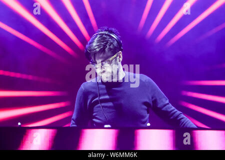 Brezje, Croatia - 20th July, 2019 : Dj Juras performs on the Forestland, ultimate forest electronic music festival located in Brezje, Croatia. - Stock Photo