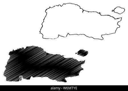 GrandAnse department (Republic of Haiti, Hayti, Hispaniola, Departments of Haiti) map vector illustration, scribble sketch Grand'Anse map - Stock Photo