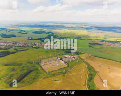 Aerial view oil refinery, refinery plant, refinery factory. - Stock Photo