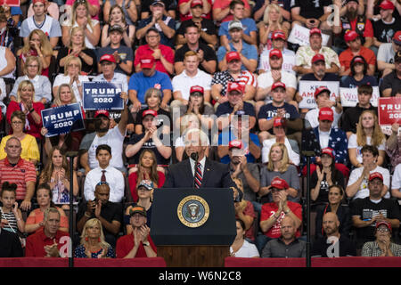 Cincinnati, United States. 01st Aug, 2019. Mike Pence speaks during the rally.President Trump and Vice President Mike Pence held a rally at the US Bank Arena in Cincinnati, Ohio. Credit: SOPA Images Limited/Alamy Live News - Stock Photo