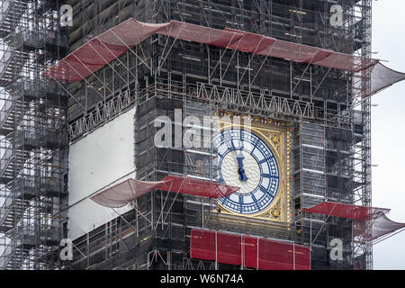London, UK, July 28, 2019. Big Bens refurbishment. The structure was covered in scaffolding in 2017, ready for the renovations, which are expected to - Stock Photo
