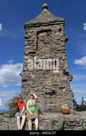mother and son on the summit, Großer Riedelstein, Eck, Bavarian Forest, Bavaria, Germany - Stock Photo