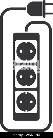 simple flat black and white electric extension cord or extension cable icon with power strip vector illustration - Stock Photo