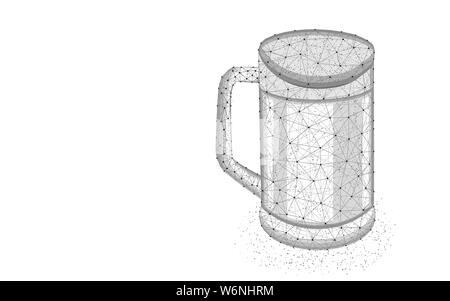 Pint of beer low poly design, Glass mug and alcoholic drink abstract geometric image, pub menu symbol wireframe mesh polygonal vector illustration mad - Stock Photo