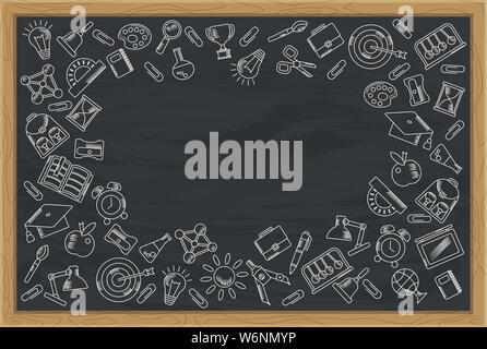 School background. Blackboard in a wooden frame. - Stock Photo