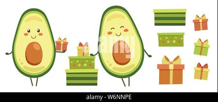 Clip art. Set of smiling avocado characters with colourful gifts for kids. Positive vector elements isolated on white. Icons with presents for holiday - Stock Photo