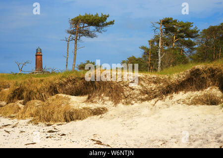 Lighthouse at west beach at Prerow, Darss, Mecklenburg-Western Pomerania, Germany - Stock Photo