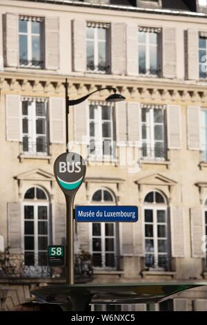 Paris 6th arrondissement, Rue Guynemer, bus station - Stock Photo