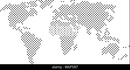 simple abstract pixelated black and white world map icon vector illustration - Stock Photo
