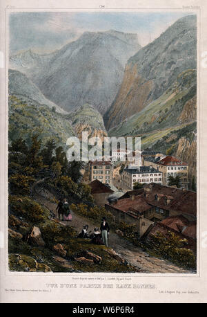 Figures walking along a path with a view of Eaux-Bonnes, Pyrénées, France. Coloured lithograph by J. Jacottet after himself and A. Bayot. - Stock Photo