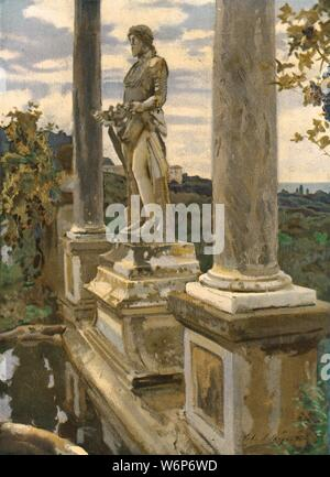 """'Statue of Vertumnus at Frascati', 1907, (c1930). A garden near Rome, Italy, with a sculpture of Vertumnus, Roman god of seasons, plant growth, gardens and fruit trees. Painting in the Dublin City Gallery, The Hugh Lane, Dublin. From """"Modern Masterpieces of British Art"""". [The Amalgamated Press Ltd., London, c1930] - Stock Photo"""