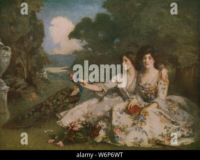 "'Alas that Spring should Vanish with the Rose', 1903, (c1930). Illustration to a poem in ""The Rubaiyat of Omar Khayyam"", translations of Persian poetry: two well-to-do young women in chintz dresses lament the passing of the seasons. Painting in the Walker Art Gallery, Liverpool. From ""Modern Masterpieces of British Art"". [The Amalgamated Press Ltd., London, c1930] - Stock Photo"
