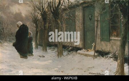 "'The Green Shutters: Viaticum, Belgium', 1918, (c1930). Old woman and child in the snow outside a house where someone has recently died, indicated by the cross on the doorstep. The Viaticum is the Catholic ceremony for a dying person, part of the Last Rites. Painting in the Laing Art Gallery, Newcastle-upon-Tyne, Tyne and Wear. From ""Modern Masterpieces of British Art"". [The Amalgamated Press Ltd., London, c1930] - Stock Photo"