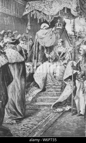 """'Coronation of Queen Victoria, June 28, 1838', (1901). Victoria (1819-1901) was crowned by William Howley the Archbishop of Canterbury, at Westminster Abbey in London. She ruled as Queen of the United Kingdom of Great Britain and Ireland from 1837 until her death. From """"The Illustrated London News Record of the Glorious Reign of Queen Victoria 1837-1901: The Life and Accession of King Edward VII. and the Life of Queen Alexandra"""". [London, 1901] - Stock Photo"""