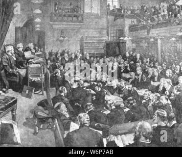 """'The Parnell Inquiry Commission, March 1889', (1901). The Parnell Commission was a judicial inquiry into allegations of crimes by Irish parliamentarian Charles Stewart Parnell which resulted in his vindication. It was held at the Royal Courts of Justice in London, over the course of 14 months, starting in September 1888. From """"The Illustrated London News Record of the Glorious Reign of Queen Victoria 1837-1901: The Life and Accession of King Edward VII. and the Life of Queen Alexandra"""". [London, 1901] - Stock Photo"""