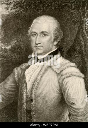 """'General Daniel Morgan in a buckskin coat of the Virginia rangers', c1780, (1937). Daniel Morgan (1736-1802)  American pioneer, soldier, and politician from Virginia. Tactician of the American Revolutionary War, associated with the Whiskey Rebellion. From """"History of American Costume - Book One 1607-1800"""", by Elisabeth McClellan. [Tudor Publishing Company, New York, 1937] - Stock Photo"""