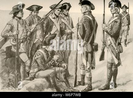 "'Military Uniforms in America', c1770, (1937). The American Revolution was a colonial revolt which occurred between 1765 and 1783. The American Patriots in the Thirteen Colonies defeated the British in the American Revolutionary War (1775-1783) with the assistance of France. From ""History of American Costume - Book One 1607-1800"", by Elisabeth McClellan. [Tudor Publishing Company, New York, 1937] - Stock Photo"