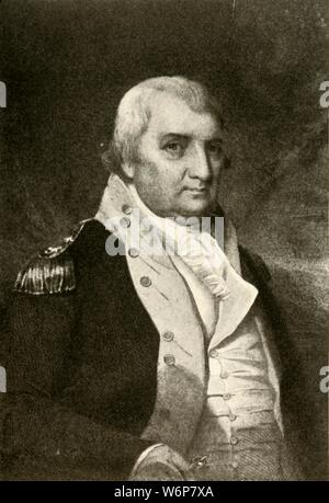 """'A portrait of Major-General Pinckney', c1790, (1937). Charles Cotesworth Pinckney (1746 -1825) American statesman of South Carolina, Revolutionary War veteran, and delegate to the Constitutional Convention. From """"History of American Costume - Book One 1607-1800"""", by Elisabeth McClellan. [Tudor Publishing Company, New York, 1937] - Stock Photo"""