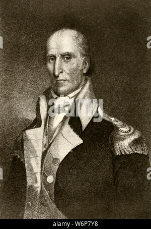 "'A portrait of General Andrew Pickens', 1937. Andrew Pickens (1739-1817)  militia leader in the American Revolution and a member of the United States House of Representatives from South Carolina. From ""History of American Costume - Book One 1607-1800"", by Elisabeth McClellan. [Tudor Publishing Company, New York, 1937] - Stock Photo"