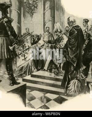 """'The Court of the Kaiser', 1910. 'The Ceremony of the Black Eagle on the Emperor's Birthday'. The conferring of the Order of the Black Eagle, held at the Berlin City Palace on 27 January, birthday of German emperor Kaiser Wilhelm II (1859-1941). The Black Eagle was the highest order of chivalry in the Kingdom of Prussia. Wilhelm continued to award the order to his family after he was deposed in 1918. From """"The Strand Magazine, an illustrated monthly"""", Volume XL - July to December 1910. [George Newnes Ltd, London, 1910] - Stock Photo"""