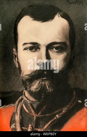 """'Nicholas II., Czar of Russia', 1910. Portrait of Tsar Nicholas II (1868-1918). From """"The Strand Magazine, an illustrated monthly"""", Volume XL - July to December 1910. [George Newnes Ltd, London, 1910] - Stock Photo"""