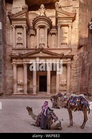 The Treasury or Al-Khazneh in Petra, Jordan. - Stock Photo