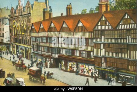'The Old Houses, Holborn, London', c1910. Staple Inn is a Tudor building in the City of London, which dates from 1585. The building was once the wool staple, where wool was weighed and taxed. It survived the Great Fire of London, but was extensively damaged by a Nazi German Luftwaffe aerial bomb in 1944, and was subsequently restored. The shop on the left offers 'Roneo' printing on mimeograph duplicating machines. Postcard. - Stock Photo