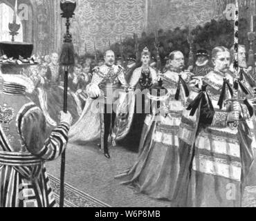 "'Princess Alexandra as Queen of England: Her Majesty passing through the Royal Gallery at the opening of King Edward VII's First Parliament, February 14, 1901'. King Edward VII (1841-1910) and his wife Alexandra of Denmark (1844-1925) in the Houses of Parliament in Westminster. On the death of his mother Queen Victoria on 22 January 1901, Edward became King of the United Kingdom, and Alexandra became Queen consort. From ""The Illustrated London News Record of the Glorious Reign of Queen Victoria 1837-1901: The Life and Accession of King Edward VII. and the Life of Queen Alexandra"". [L - Stock Photo"