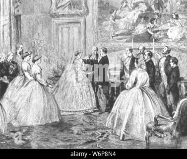 "'The Marriage of Princess Alice with Prince Louis of Hesse in the Dining-Room of Osborne House, July 1, 1862', (1901). Alice (1843-1878), daughter of Queen Victoria, married Louis, Grand Duke of Hesse (1837-1892) at the royal residence of Osborne House on the Isle of Wight. From ""The Illustrated London News Record of the Glorious Reign of Queen Victoria 1837-1901: The Life and Accession of King Edward VII. and the Life of Queen Alexandra"". [London, 1901] - Stock Photo"