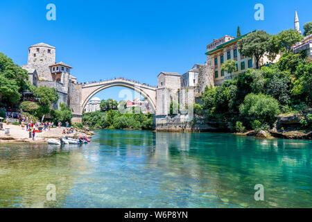 The Old Bridge (Stari Most) in Mostar, Bosnia and Herzegovina - Stock Photo
