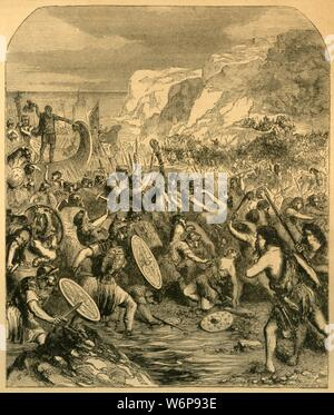 """'Landing of Julius Caesar', c1890. Julius Caesar (100 BC- 44 BC) first landed in Britain on August 26th, 55 BC in Pegwell Bay on the Isle of Thanet, Kent. From """"Cassell's Illustrated History of England"""". - Stock Photo"""