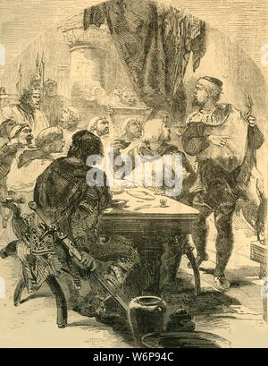 "'At a Banquet given by Harold, he receives the News of the Invasion of the Normans', c1890. Harold Godwinson (c1022-1066) recieves news of the Norman invasion led by William of Normandy at a feast following the battle of Stamford Bridge. From ""Cassell's Illustrated History of England"". - Stock Photo"
