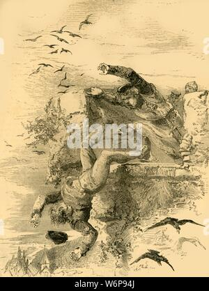 """'The Death of Conan', c1890.  Henry I, King of England (1068-1135) throws Conan Pilatus from Rouen Castle for his part in a conspiracy. From """"Cassell's Illustrated History of England"""". - Stock Photo"""