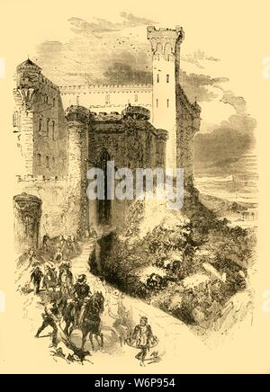 "'Robert of Normandy at the Castle of the Count of Conversano', c1890. Robert Curthose (c1051-1134), negotiated his marriage to Sybilla of Conversano, daughter of Geoffrey of Brindisi, Count of Conversano during transportation from Apulia on the First Crusade.  From ""Cassell's Illustrated History of England"". - Stock Photo"