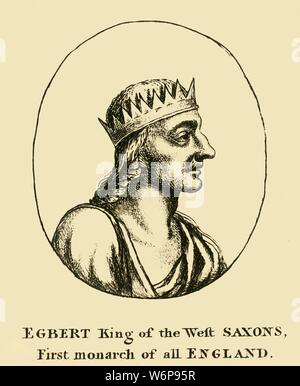 'Egbert King of the West Saxons, First monarch of all England', 18th century. Ecgberht (771/775-839) King of Wessex from 802 until his death in 839. - Stock Photo