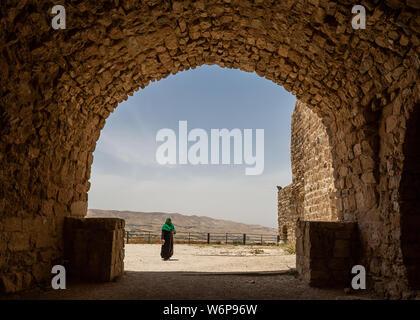 Entrance to Al-Karak castle in Jordan - Stock Photo