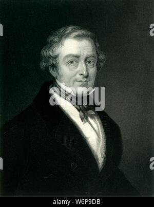 """'Sir Robert Peel Bart.', c1820, (c1884). Sir Robert Peel, 2nd Baronet (1788-1850) British industrialist and Conservative, educated at  Christ Church, Oxford. Founded the Metropolitian Police Service, served twice as Prime Minister and Home Secretary during the reign of Queen Victoria. From """"Leaders of the Senate: A Biographical History of the Rise and Development of the British Constitution, Vol. I."""", by Alexander Charles Ewald, F.S.A. [William Mackenzie, London, Edinburgh & Berlin] - Stock Photo"""