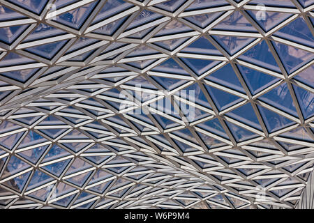 Wavy roof at Westfield Shopping Centre in West London - Stock Photo