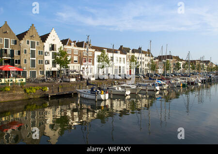 The Kinderdijk with historic buildings in the city of Middelburg, the Netherlands - Stock Photo