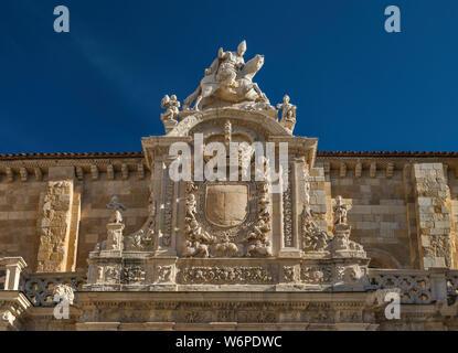 San Isidoro on horseback, large shield over Puerta del Cordero (Gate of the Lamb) at Basilica de San Isidoro in Leon, Castilla y Leon, Spain - Stock Photo