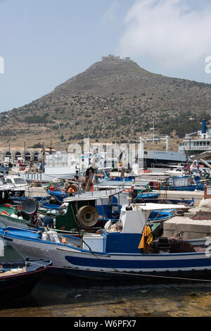 Boats in the marina at Favignana Island, Sicily - Stock Photo