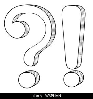 Question and Exlamation marks. Doodle style - Stock Photo