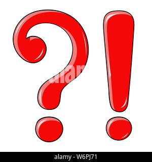 Question and Exlamation marks. Red shiny elements - Stock Photo