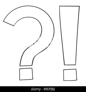 Question and Exlamation marks. Outline icon - Stock Photo