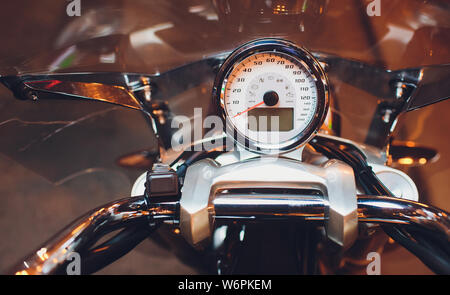 Motorcycle control panel with speedometer dashboard in motorcycle.
