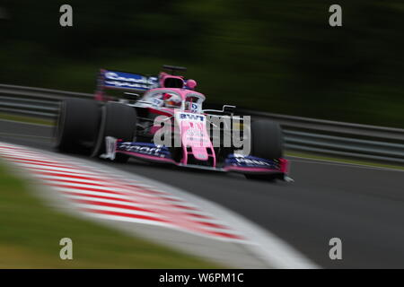 Budapest, Hungary. 02nd Aug, 2019. #11 Sergio Perez, Racing Point F1 Team, Mercedes. Hungarian GP, Budapest 2-4 August 2019 Credit: Independent Photo Agency/Alamy Live News - Stock Photo