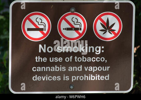 No Smoking, vaping, or use of weed/marijuana/pot/cannabis sign in a local park. - Stock Photo