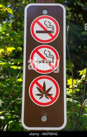 No Smoking, vaping, or use of weed/marijuana/pot/cannabis sign in a local park. - Stock Photo