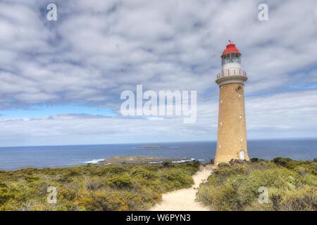 The Cape Du Couedic Lighthouse on Kangaroo Island in Australia - Stock Photo