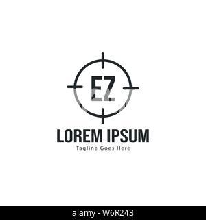 Initial EZ logo template with modern frame. Minimalist EZ letter logo vector illustration design - Stock Photo